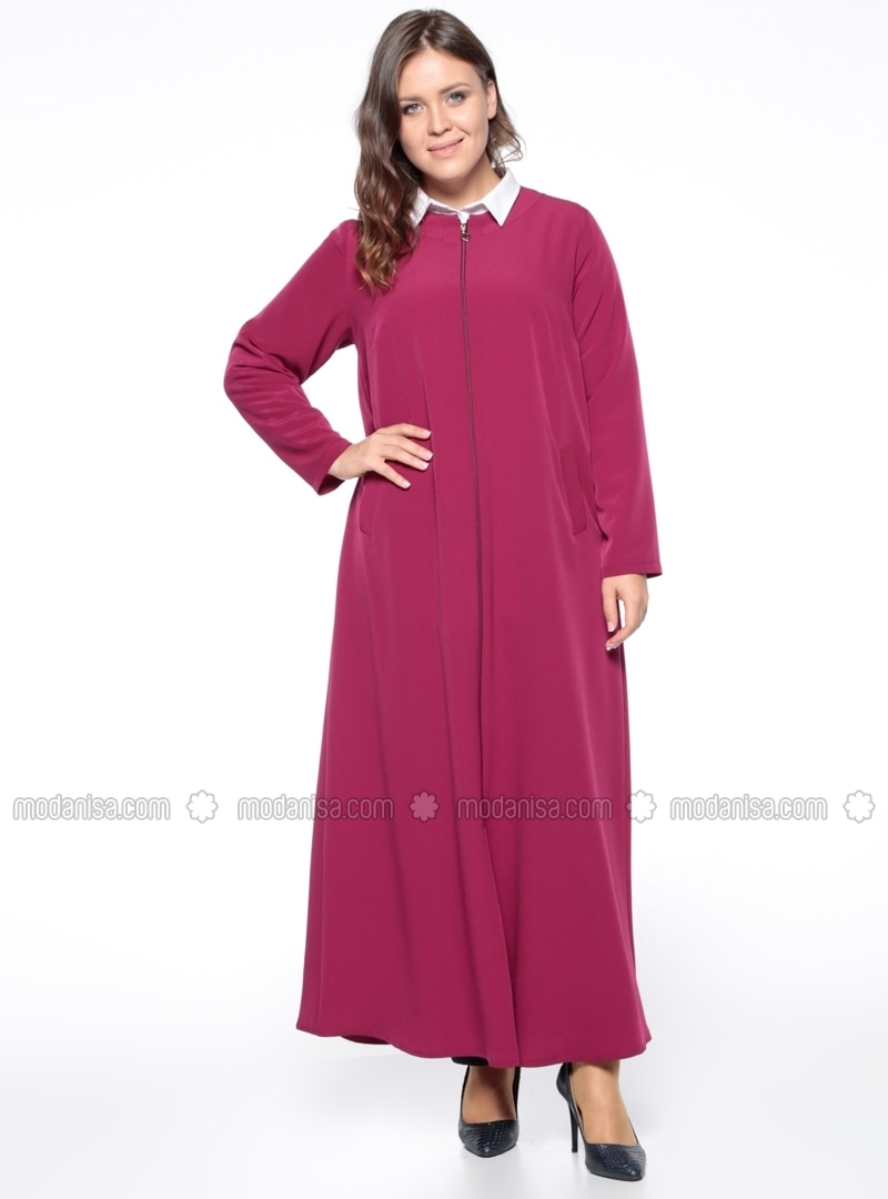 Unlined - Crew neck - Pink - Plus Size Abaya