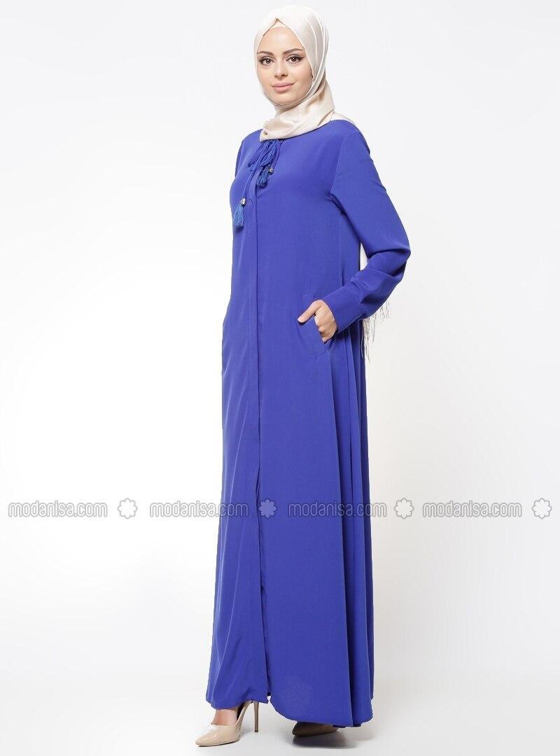 Button Collar - Unlined - Saxe - Abaya