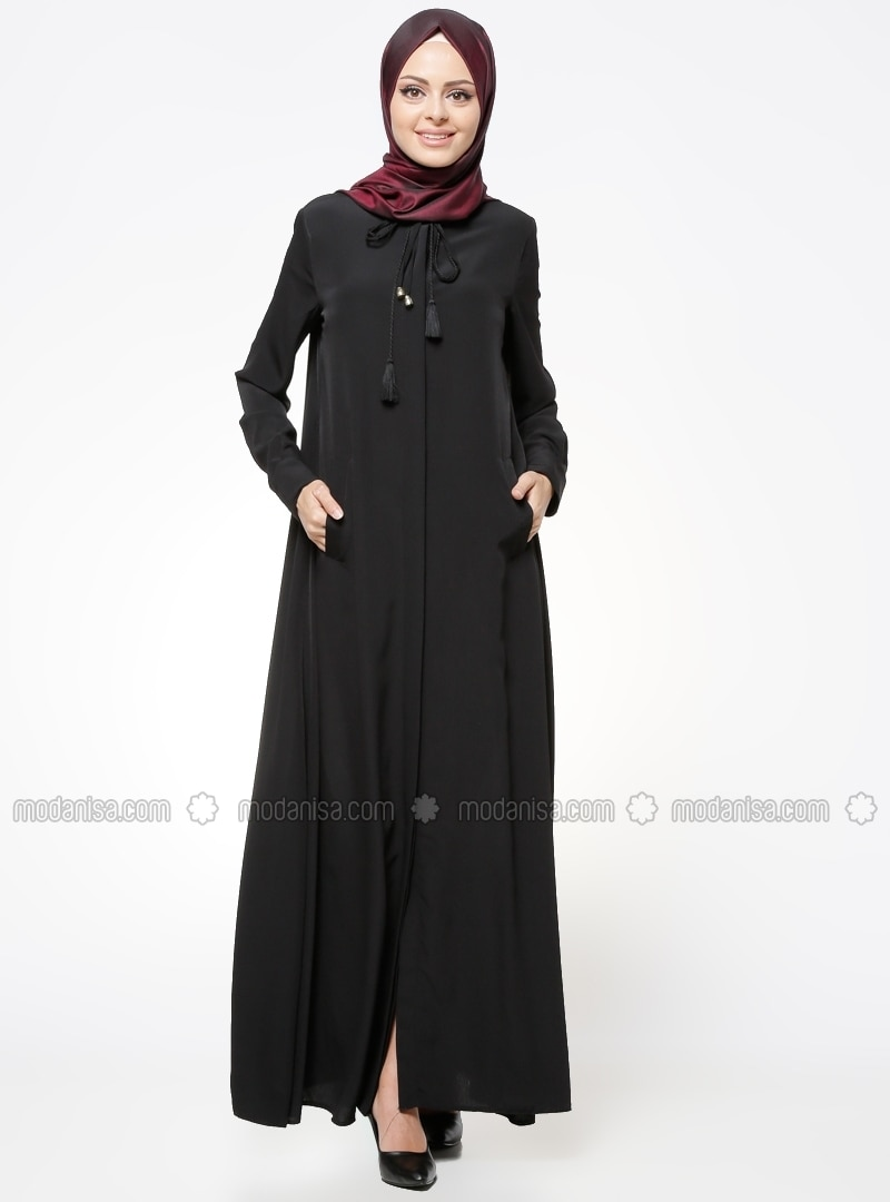 Black - Unlined - Button Collar - Abaya