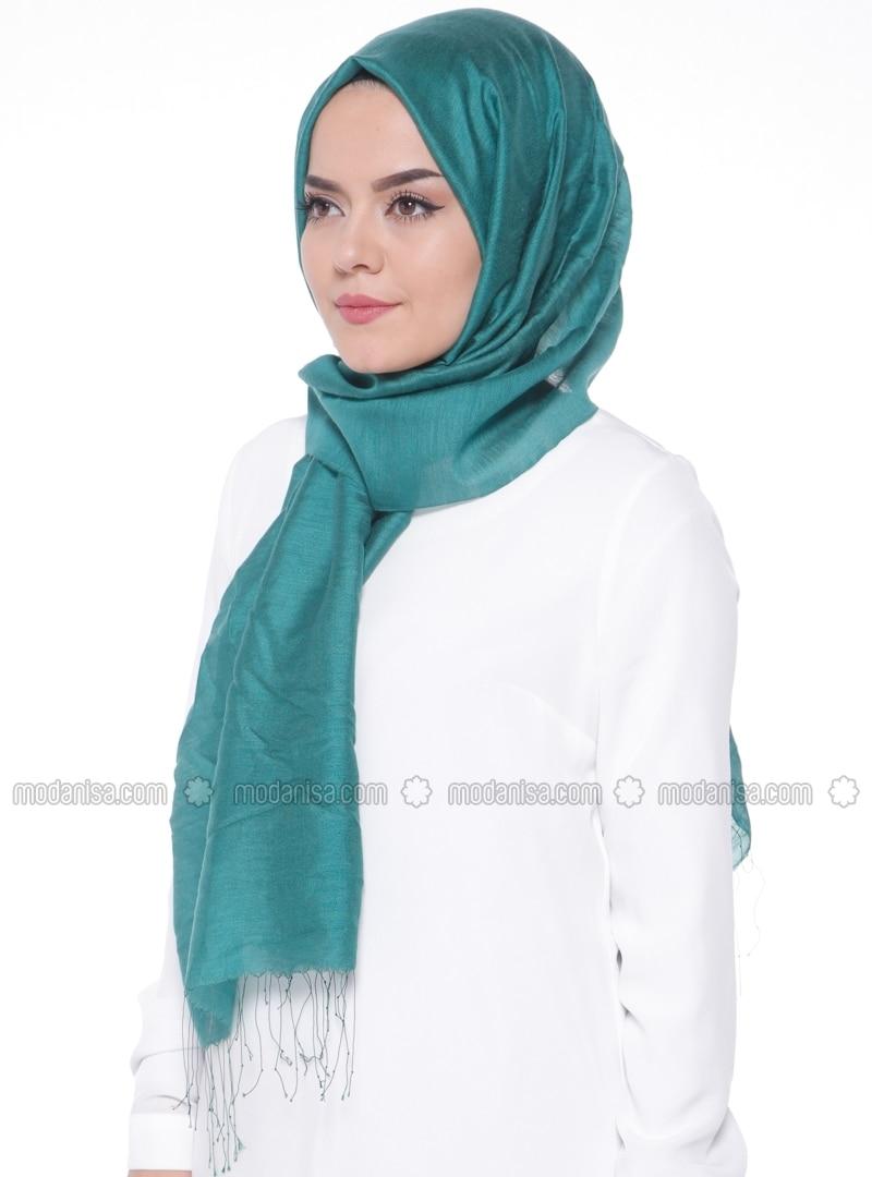 Green - Plain - Fringe - Silk Blend - Cotton - Shawl