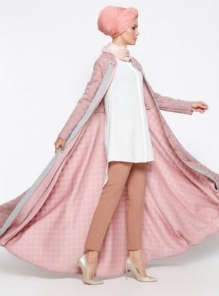 Boydan Düğmeli Abiye Elbise - Pudra Mustafa Dikmen