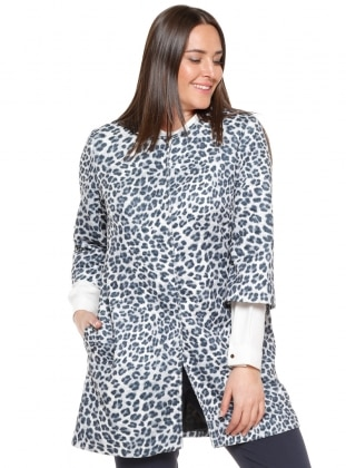 Crew neck - Fully Lined - Leopard - Gray - Plus Size Coat