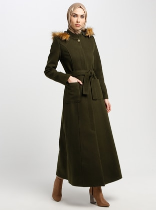 Khaki - Fully Lined - Crew neck - Coat - Miss Cazibe