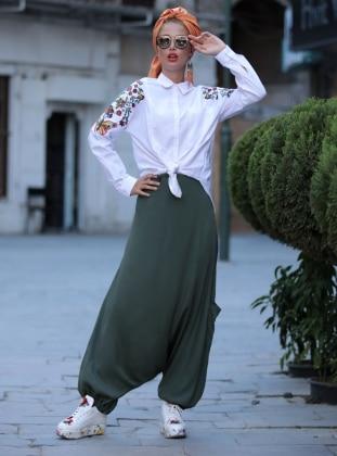 Pantolon Etek - Haki Selma Sarı Design