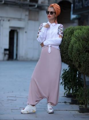 Pantolon Etek - Pudra Selma Sarı Design