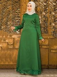 İnci Abiye Elbise - Yeşil - Nurgül Çakır