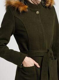 Khaki - Fully Lined - Crew neck - Coat