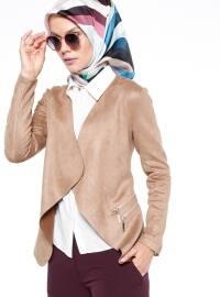 Süet Ceket - Koyu Camel - Fashion Box London
