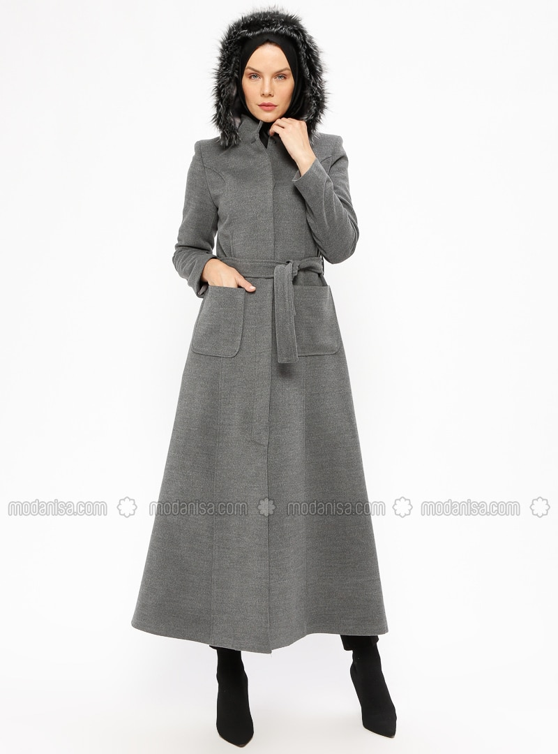 Gray - Fully Lined - Crew neck - Coat