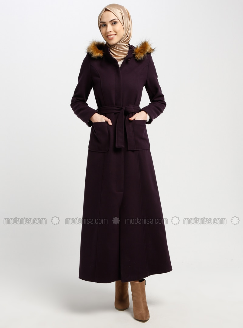 Purple - Fully Lined - Crew neck - Coat