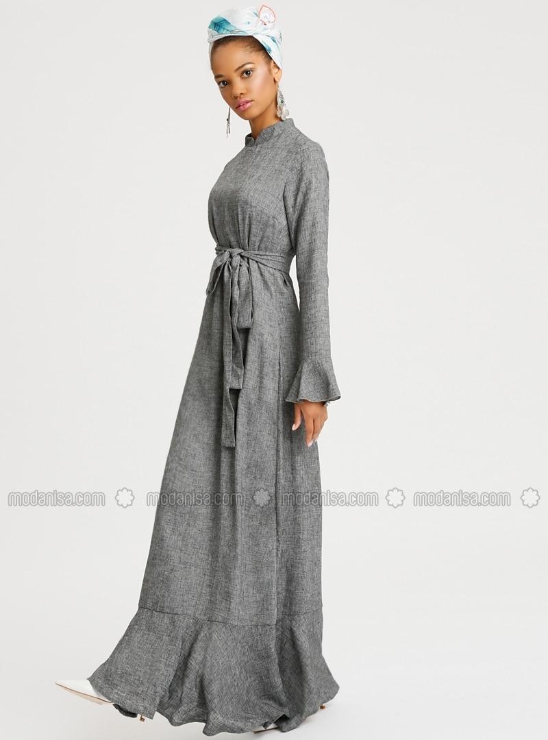 Gris col chinois tissu double robe selma sari design for Robe col chinois
