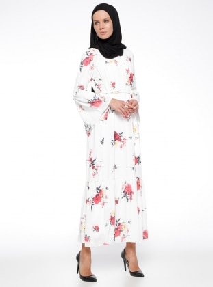 Fully Lined - Crew neck - Floral - Ecru - Pink - Dress