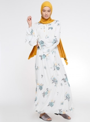 Mint - Ecru - Floral - Crew neck - Fully Lined - Dress