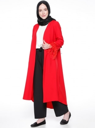 Kol Detaylı Kap - Kırmızı Modesty