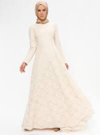 Çiçekli Esra Abiye Elbise - Krem - Pınar Şems