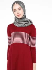 Gray - Maroon - Stripe - Crew neck - Tunic