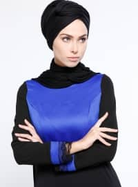 Saxe - Black - Fully Lined - Crew neck - Muslim Evening Dress