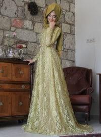 Esra Dantel Abiye - Fıstık Yeşili - Pınar Şems
