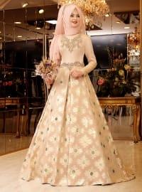 Mihrimah Abiye Elbise - Pudra - Pınar Şems