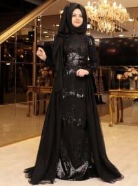 Pınar Şems Pırlanta Abiye Elbise - Siyah - Pınar Şems