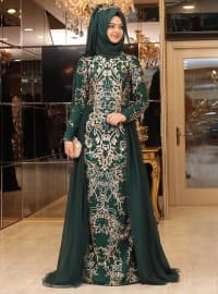 Zerafet Abiye Elbise - Zümrüt - Pınar Şems