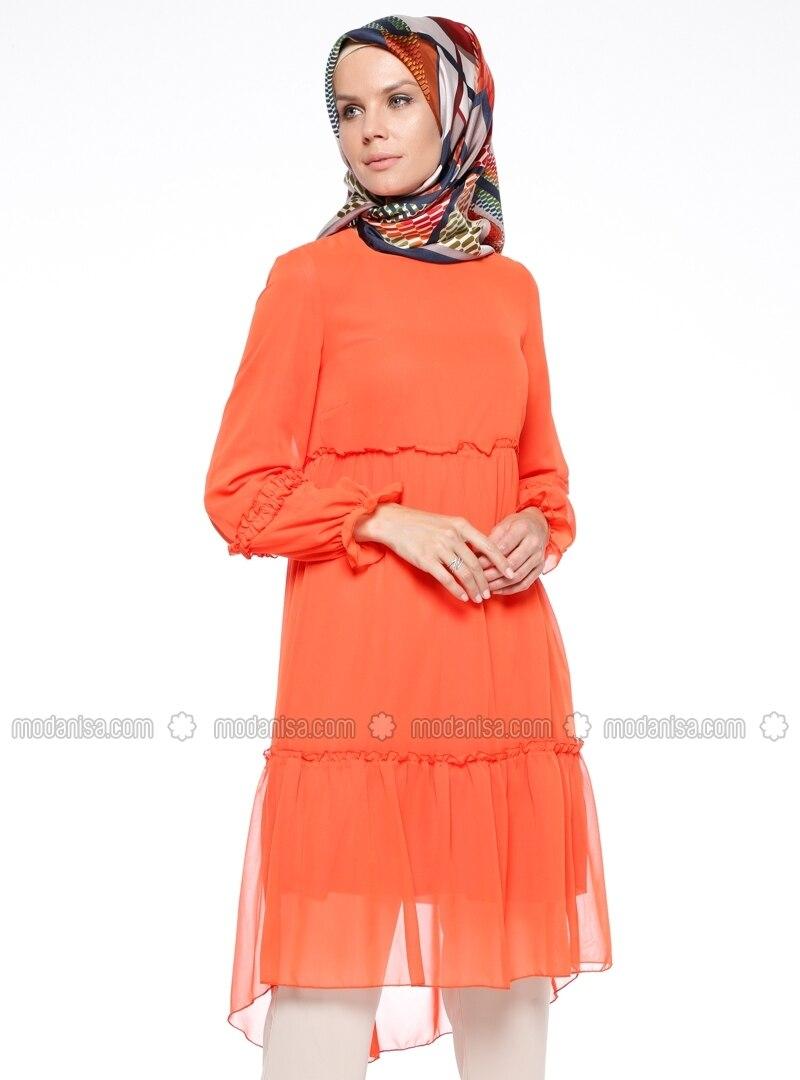 Orange - Crew neck - Tunic