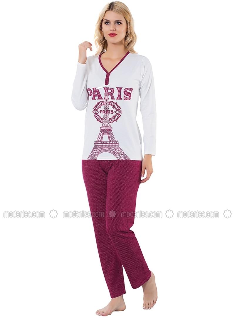 White - Ecru - Maroon - Crew neck - Pyjama