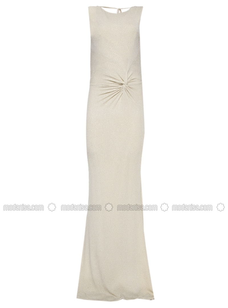 Gold - Fully Lined - Boat neck - Muslim Evening Dress