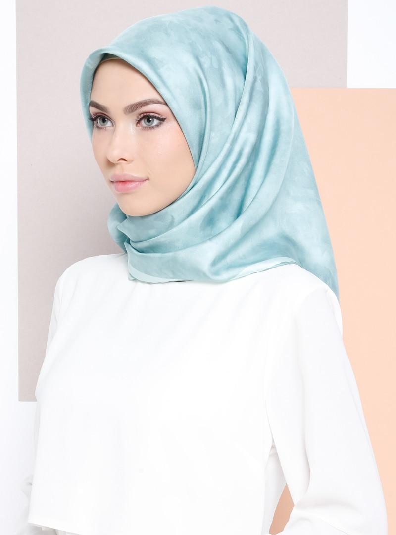 Tesettür %100 İpek Eşarp Aker Yeşil Karışık Kadın Standart
