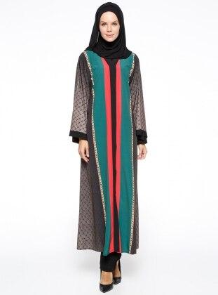 Şahin Ferace Desenli Abaya - Yeşil