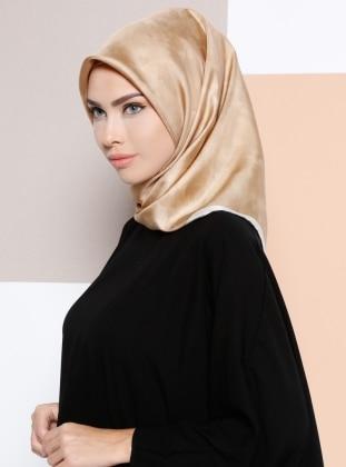 %100 Silk - Twill - Printed - Camel - Scarf