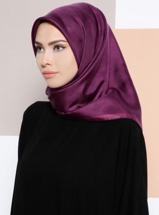 %100 Silk - Twill - Plain - Purple - Scarf