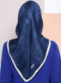%100 Silk - Twill - Printed - Multi - Navy Blue - Scarf