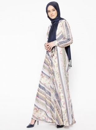 Powder - Multi - V neck Collar - Fully Lined - Dresses