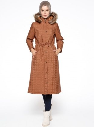 Brown - Fully Lined - Polo neck - Coat
