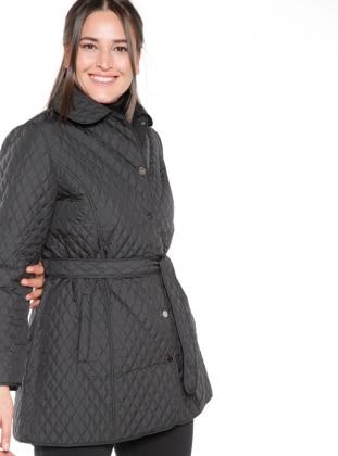 Black - Unlined - Round Collar - Coat