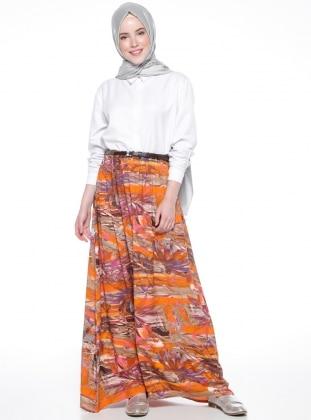 Viscose - Unlined - Multi - Orange - Skirt