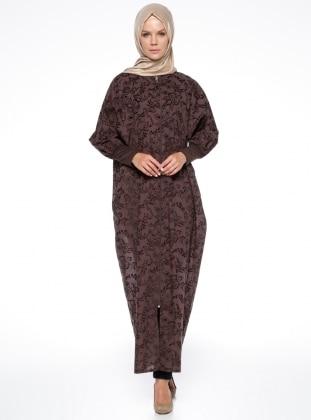 Yarasa Kollu Ferace - Kahverengi ModaNaz