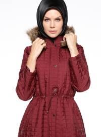 Maroon - Fully Lined - Polo neck - Coat