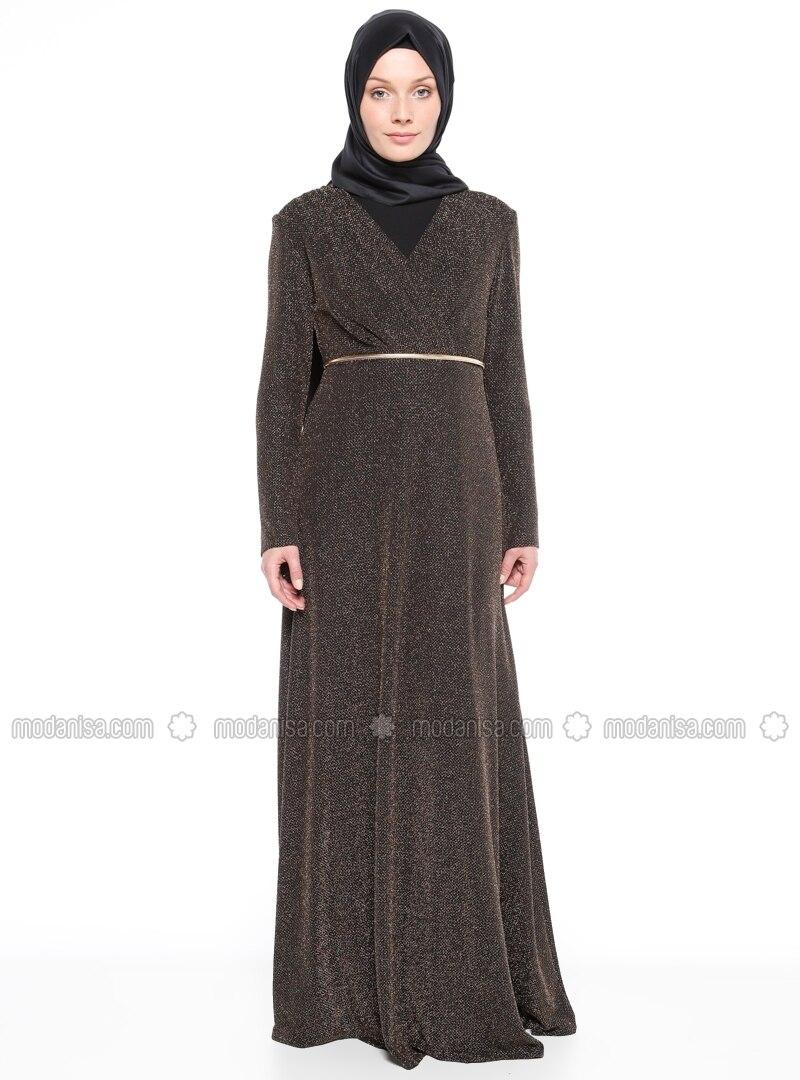 Black   Gold   Fully Lined   V Neck Collar   Muslim Evening Dress by Modanisa