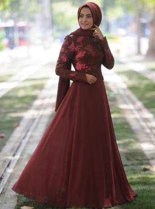 Şal Desenli Abiye Elbise - Tarçın Nurgül Çakır