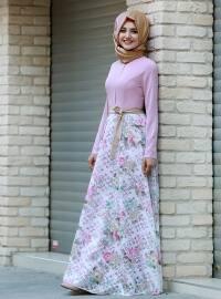 Flowers Yakma Elbise - Pudra - Gamze Özkul