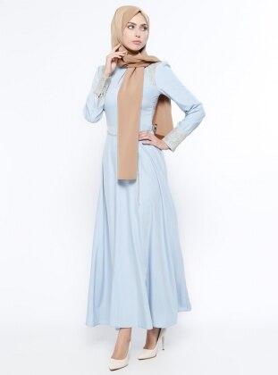 Balıkçı Yaka Elbise - Mavi Mileny