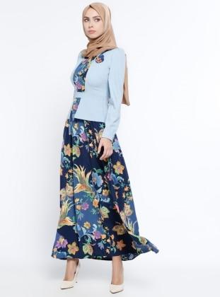 Çiçekli Elbise - Mavi Mileny