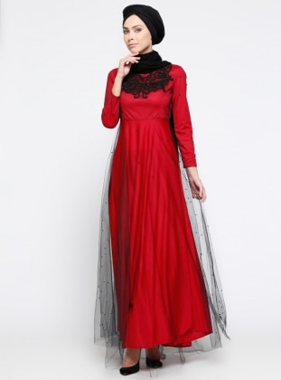 Tüllü Abiye Elbise - Kırmızı Mileny