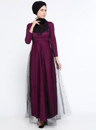 Tüllü Abiye Elbise - Mor Mileny