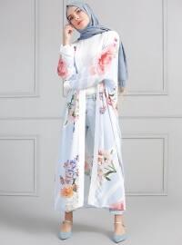 Desenli Kimono - Mavi - Refka