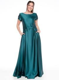 Kolları Boncuk İşlemeli Abiye Elbise - Yeşil - Pierre Cardin