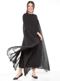 Büyük Beden Pelerinli Elbise - Siyah - Alia