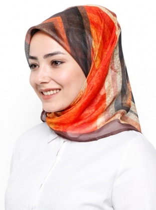 Brown - Printed - Rayon - Scarf